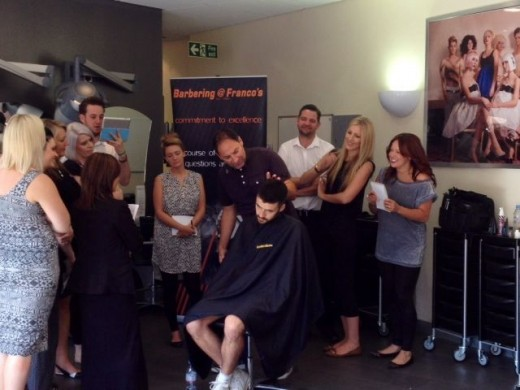 Barbering at Francos Founder Franco Lombardi delivers training at Reflections Hair Academy