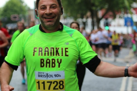 Bristol Barber franco Lombardi completing the Bristol 10K for charity
