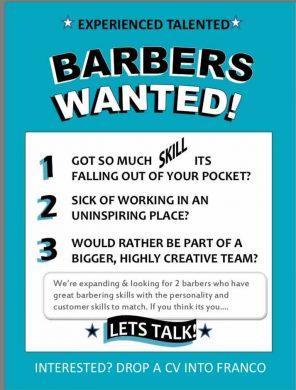 Bristol men's hair salon recruiting